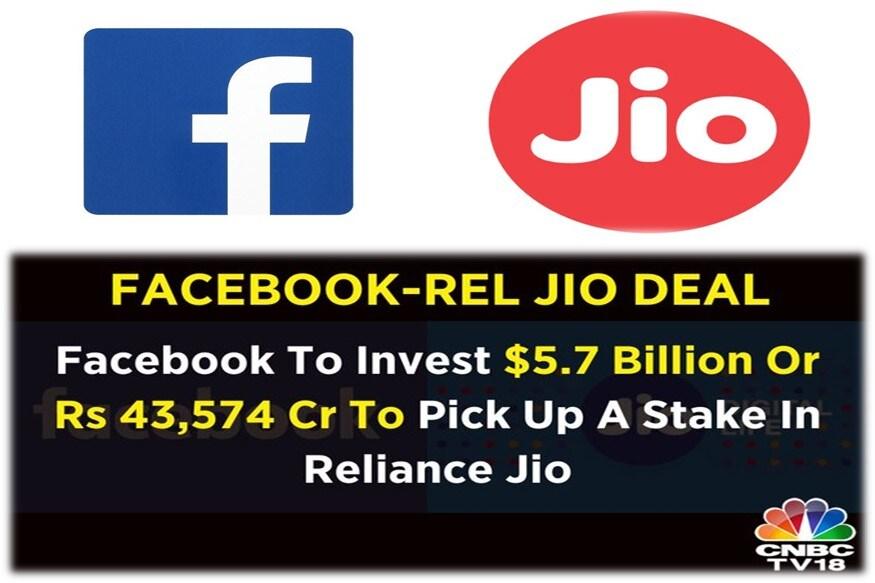 ہندوستان میں سرمایہ کاری :فیس بک نے ریلائنس جیو میں 9.99 فیصد شیئر ز 43،574 کروڑ روپئے میں خریدے