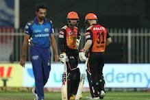 IPL 2020 : ممبئی کو ہرا کر پلے آف میں پہنچا حیدرآباد ، کولکاتہ کی آخری امید ٹوٹی