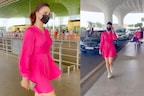 ایئرپورٹ پر اداکارہ اروشی روتیلا نے گلابی ڈریس میں بکھیرا جلوہ، فینس ہوئے دیوانے