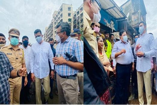 ممبئی شہر کے نگراں وزیر اسلم شیخ نے ملاڈ عمارت سانحہ کا لیاجائزہ، مہلوکین کے ورثاء سےکی ملاقات