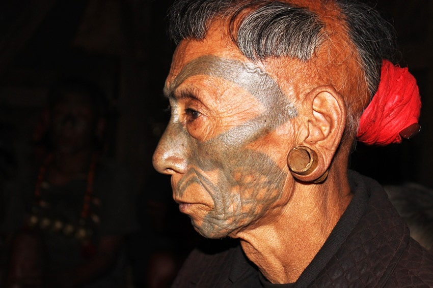 The iconic facial tattoo of the  Konyak Nagas