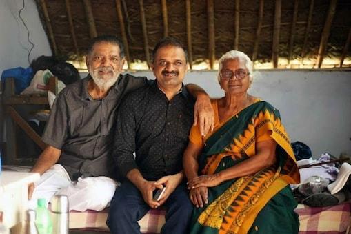 பேரறிவாளன் உடன் அவரது தந்தை மற்றும் தாய் அற்புதம் அம்மாள்