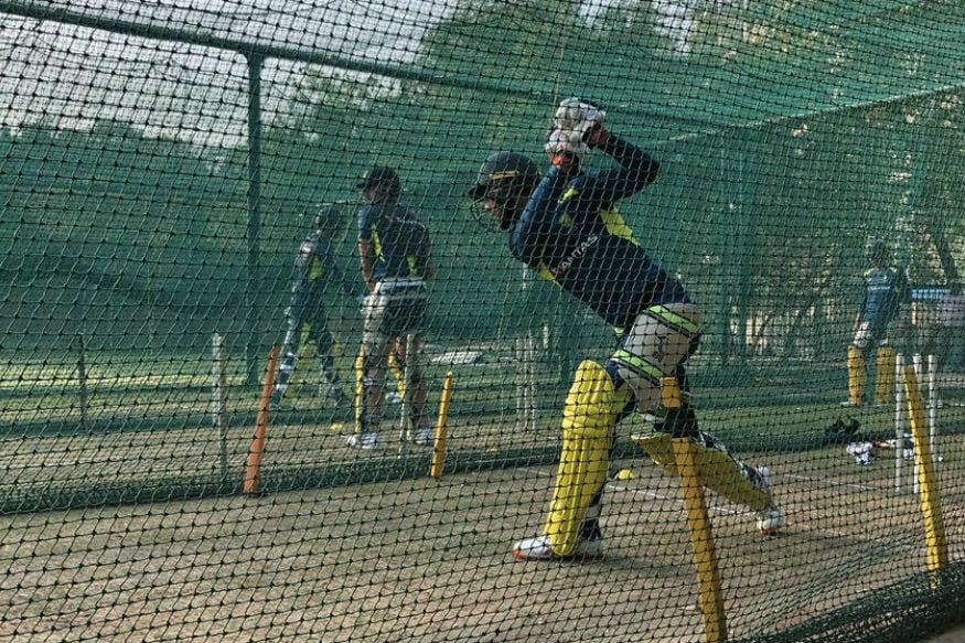 முன்னணி பேட்ஸ்மேன் மேக்ஸ்வெல் பேட்டிங் பயிற்சியில் ஈடுபட்டார். (CricketAustralia)