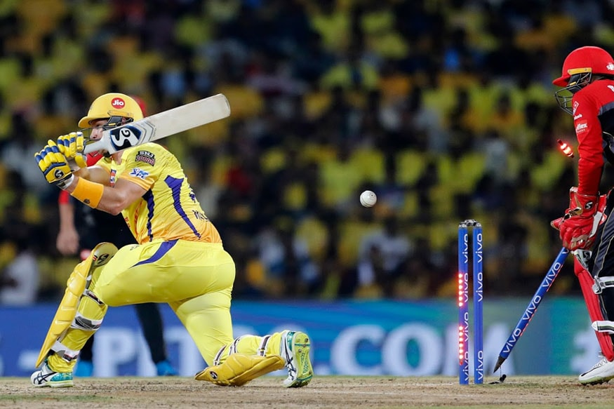 சாஹல் பந்தில் கிளீன் போல்டான வாட்சன்.(IPL)