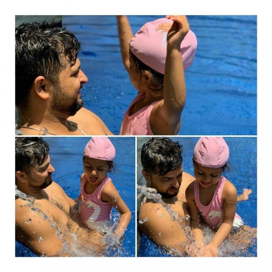 சுரேஷ் ரெய்னா தனது மகள் தரியாவுடன்... தரியா மே 13, 2016 அன்று பிறந்தார்.