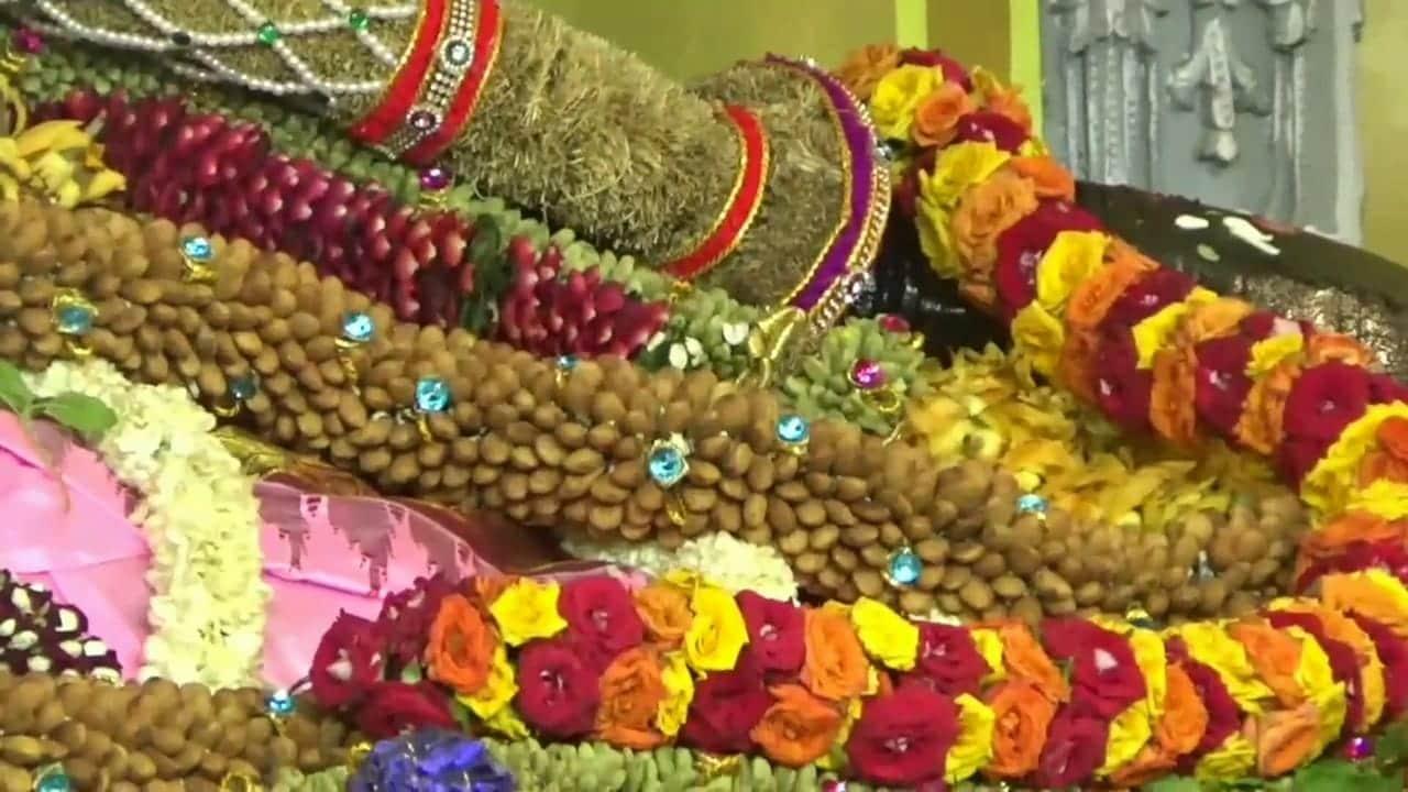முத்து மாலை மற்றும் ரோக்களினால் ஆன மாலையை அணிவித்திருக்கும் அத்திவரதர் .