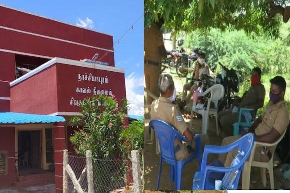 கொரோனா பாதிப்பு: மரத்தடியில் செயல்பட்ட காவல் நிலையம்