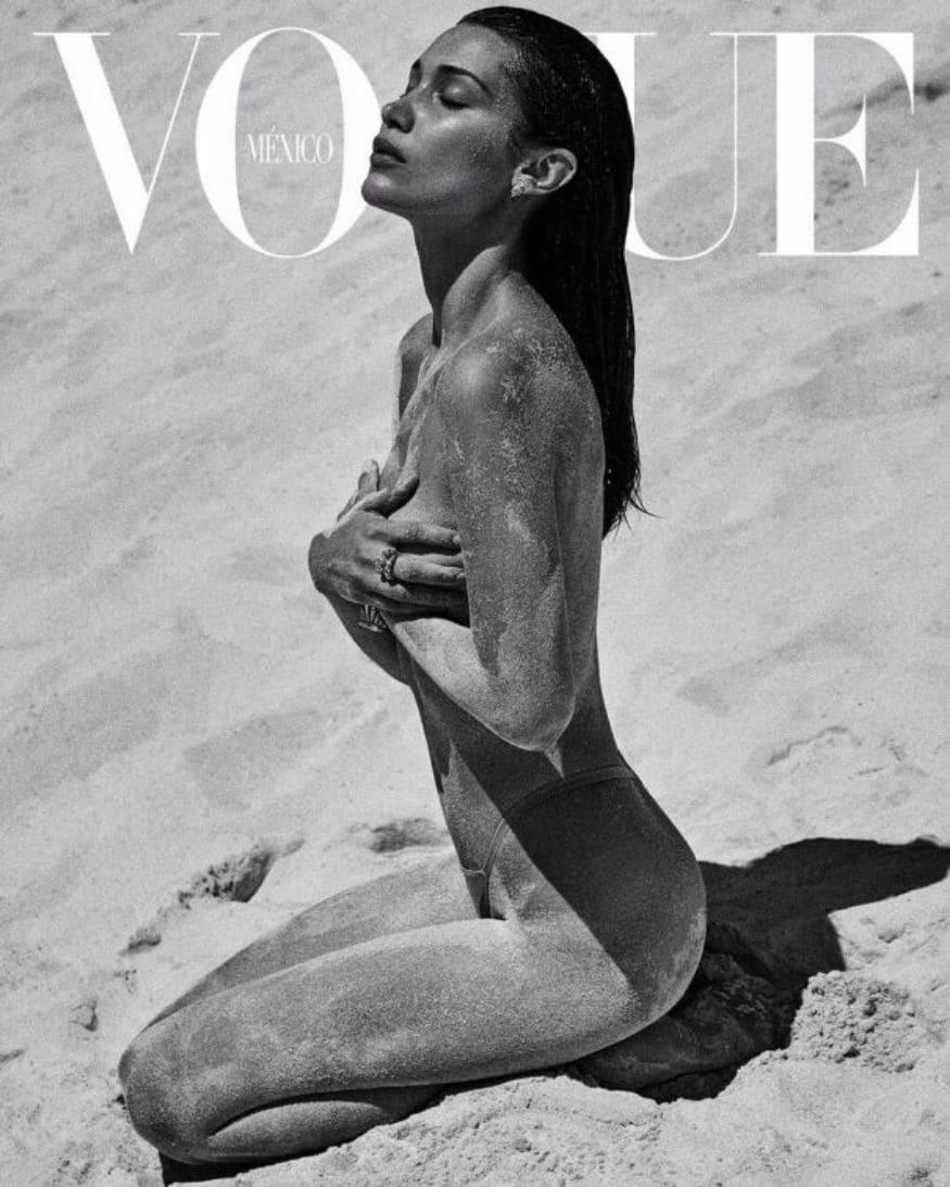 மாடல் பெல்லா ஹடிட் வோக் மேகஸினுக்காக நிர்வாணமாக போஸ் கொடுத்துள்ளார் (Image: Vogue)