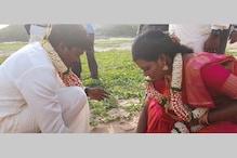 சென்னை மெரினாவில் பனை மர விதைகளை நட்ட புதுமணத் தம்பதி