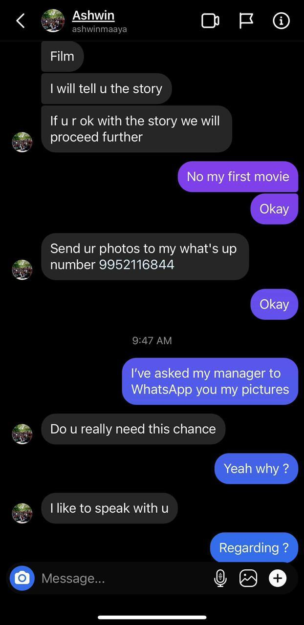 Fake Instagram page in the name of a famous director Ashwin Saravanan