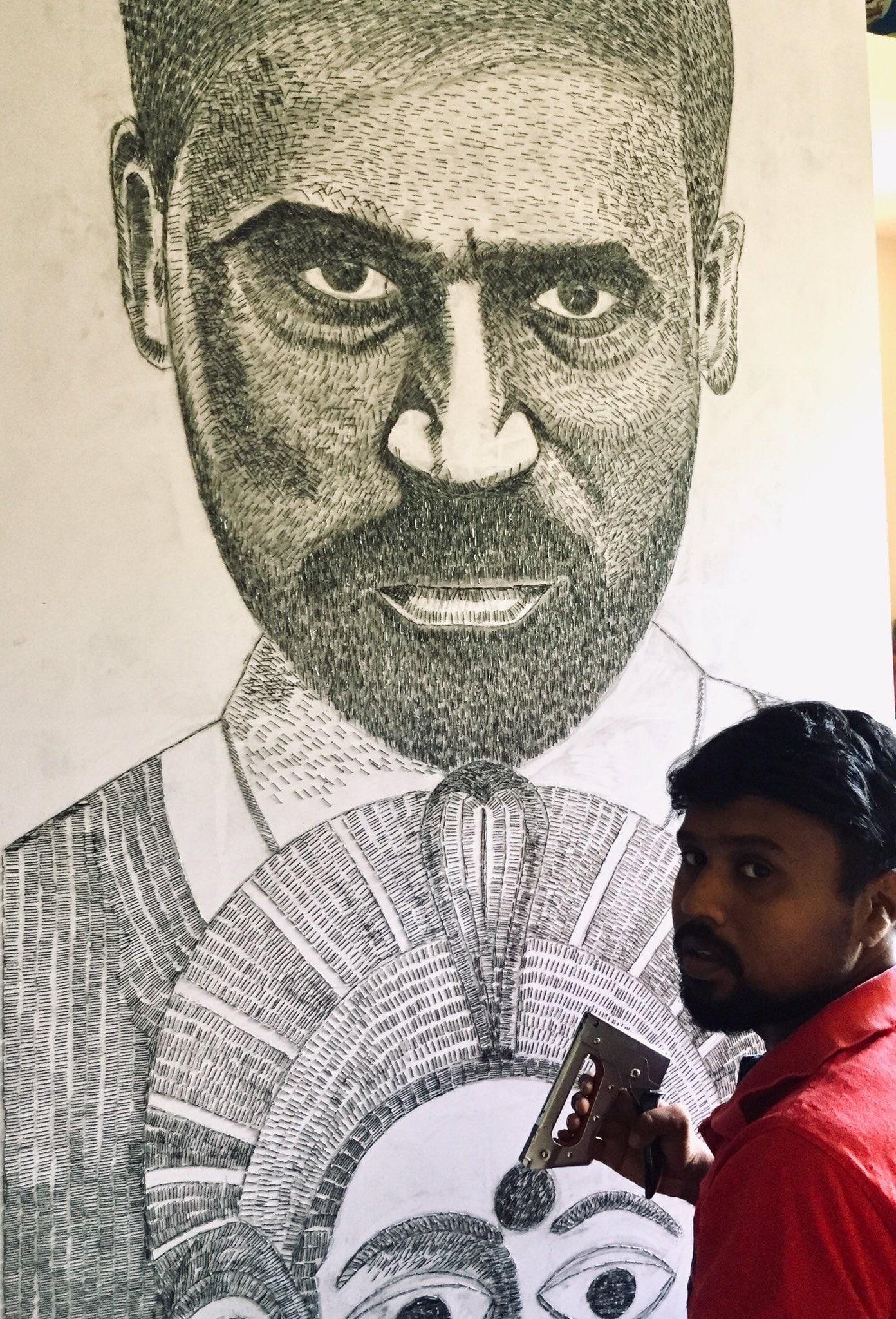 Karnan Dhanush in stapler pin Kamal Haasan in nail - Artist Seeva Vazhuthi different attempt