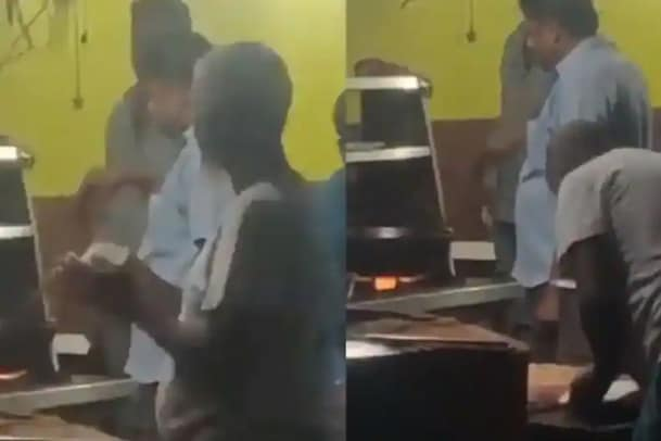 சப்பாத்தியில் எச்சில் துப்பி சமைத்த சமையல்காரர்