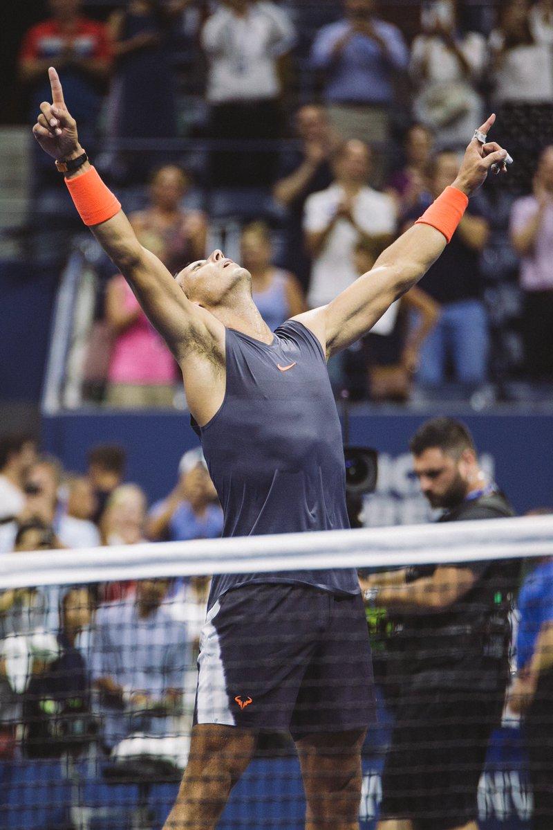 5 గంటల పాటు పోరాడి నెగ్గిన తర్వాత నడాల్ విజయానందం (Us Open Tennis/ Twitter)
