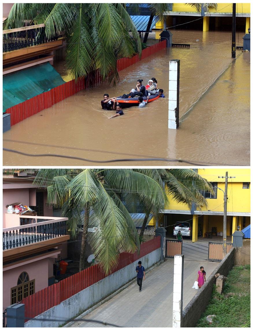 వరదల సమయంలో కొచ్చిలో జలమయమైన ఓ రెషిడెన్షియల్ బిల్డింగ్ (పైచిత్రం) ప్రస్తుతం వరదల నుంచి కోలుకున్న తర్వాత భవనం దృశ్యాలు (కింది చిత్రం) (Image: Reuters)