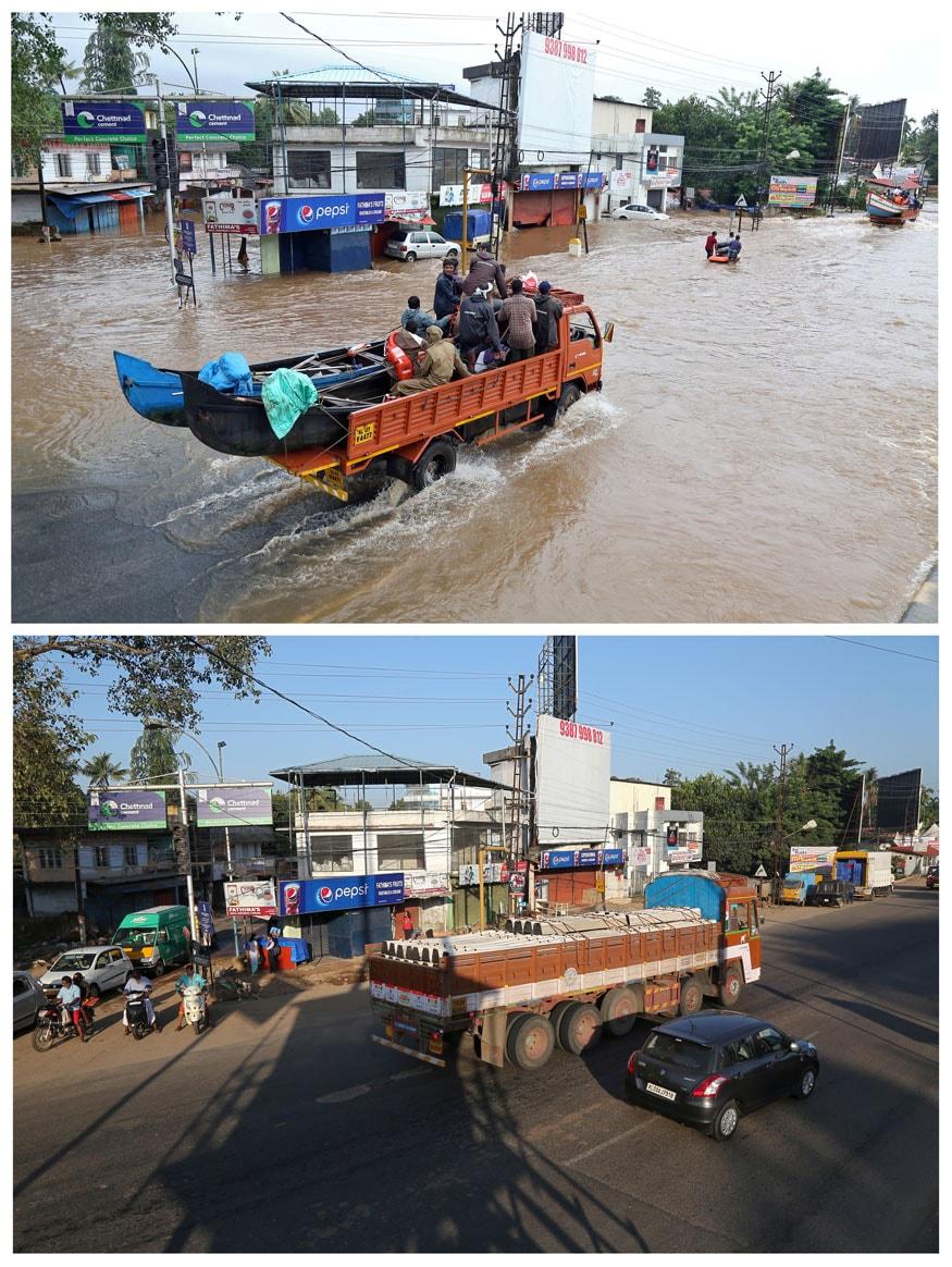 వరదల సమయంలో అలువాలో రోడ్లపై నిలిచిపోయిన నీరు (పై చిత్రం). అదే ప్రాంతంలో స్థానికులు, వాహనదారుల రాకపోకలు (కింది చిత్రం) (Image: Reuters)