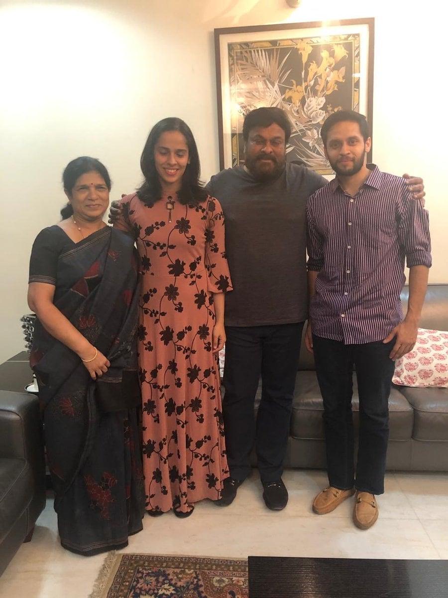 సురేఖ,సైనా నెహ్వాల్,చిరంజీవి, పారుపల్లి కశ్యప్( Saina nehwal / twitter )