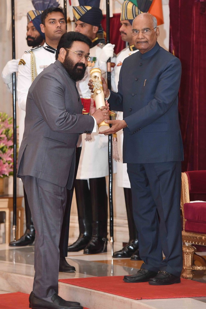 Mohan Lal Received Padma Bhushan Award From President of India Ramnath kovind News18