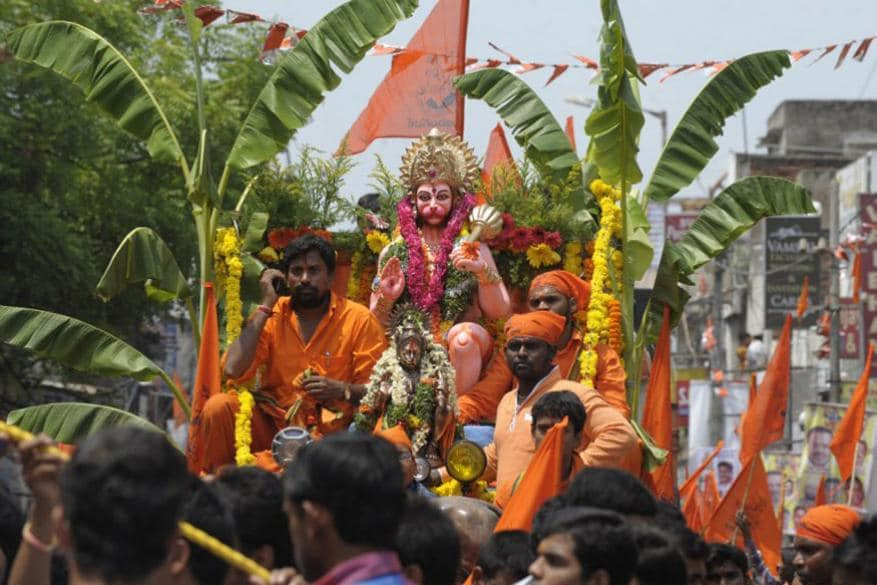 హైదరాబాద్లో హనుమాన్ జయంతి శోభాయాత్ర(Image: AP)