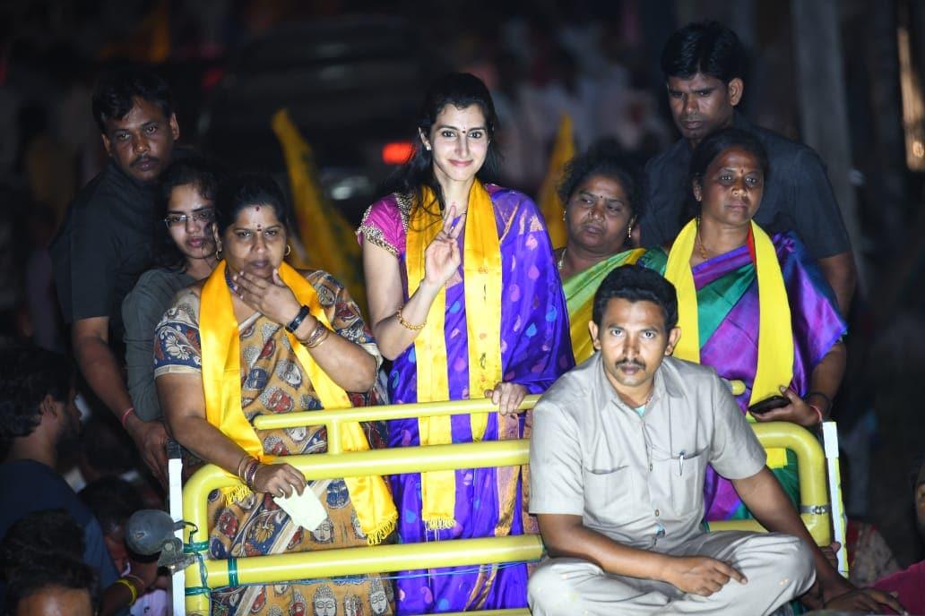 మంగళగిరిలో నారా బ్రాహ్మణి ఎన్నికల ప్రచారం