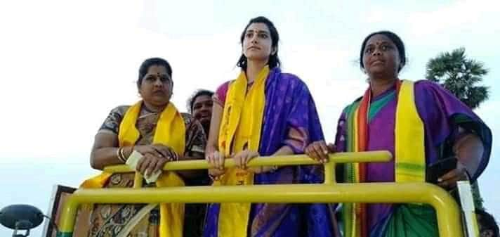 ఎన్నికల ప్రచార సభలో పాల్గొన్న నారా బ్రాహ్మణి