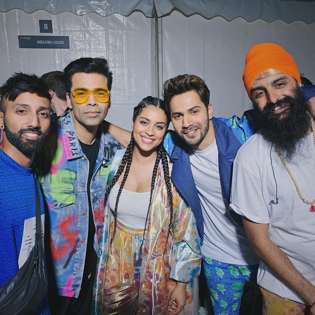 బాలీవుడ్ స్టార్స్ వరుణ్ ధావన్, కరణ్ జోహార్తో లిల్లీ సింగ్ Photo: Instagram.com/iisuperwomanii