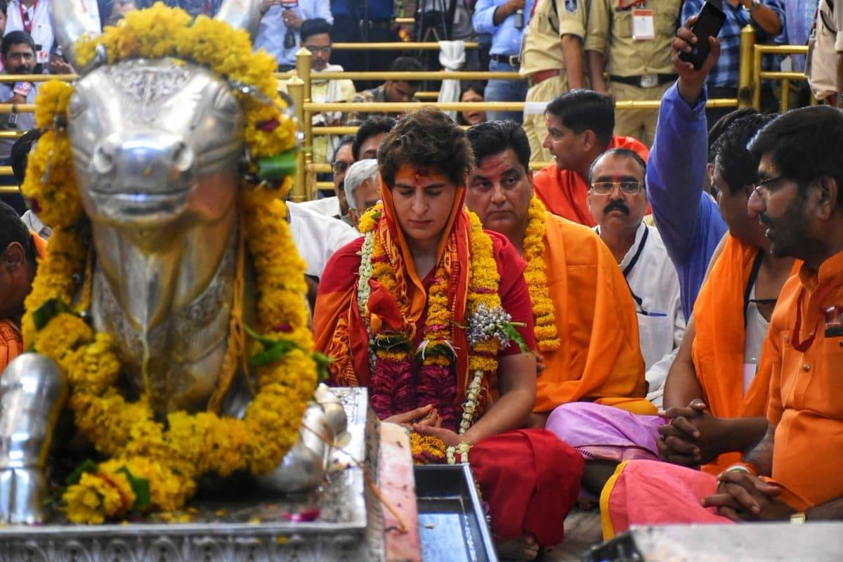 ఉజ్జయిని మహాకాళేశ్వర్ ఆలయంలో ప్రియాంక గాంధీ పూజలు (Image:twitter/RuchiraC)