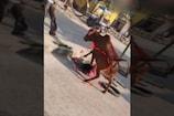 Viral Video: దారినపోయే వ్యక్తిని తొక్కి చంపబోయిన ఆవు..