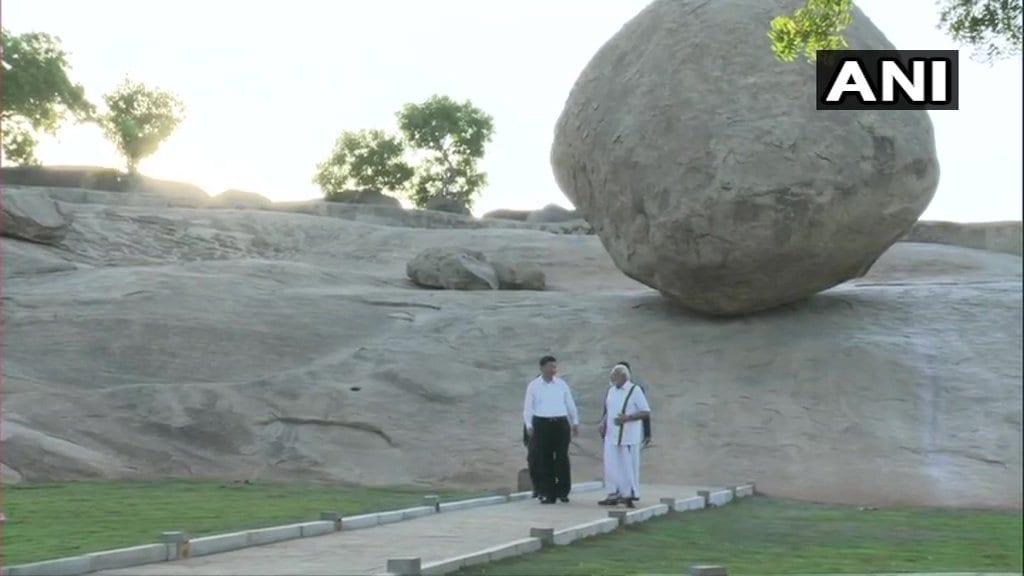 మహాబలిపురంలో ప్రధాని మోదీ, చైనా అధ్యక్షుడు జిన్పింగ్ (Image: ANI)