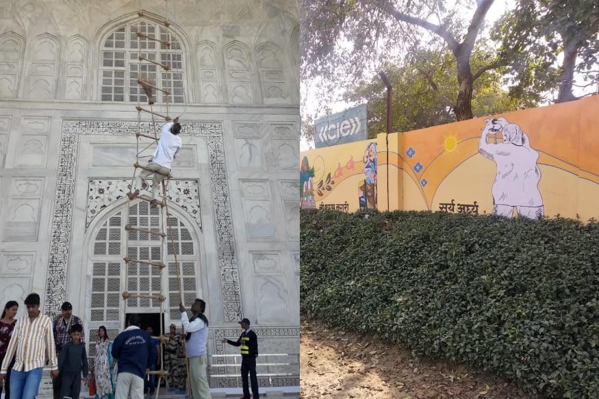 Trump India Tour : మీరెప్పుడైనా తాజ్ మహల్ని ఇలా ప్రత్యేకంగా శుభ్రం చెయ్యడం చూశారా? ఇంత శ్రద్ధ పెట్టి శుభ్రం చేస్తున్నది అమెరికా అధ్యక్షుడు డొనాల్డ్ ట్రంప్ ఇండియా టూర్ గురించే.