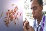 Video : బియ్యం గింజలపై అక్షరాలు... భలే కళ
