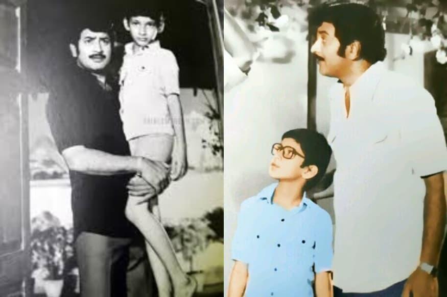 చిన్నపుడు తండ్రి సూపర్ స్టార్ కృష్ణతో మహేష్ బాబు (Twitter/Photo)