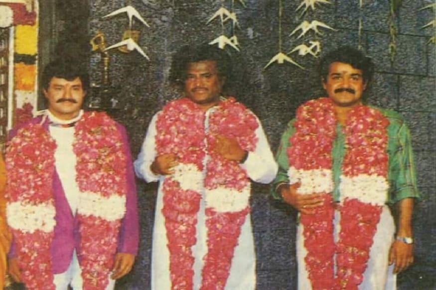 తోటి నటులు బాలయ్య, రజినీకాంత్లతో మోహన్ లాల్ (Twitter/Photo)