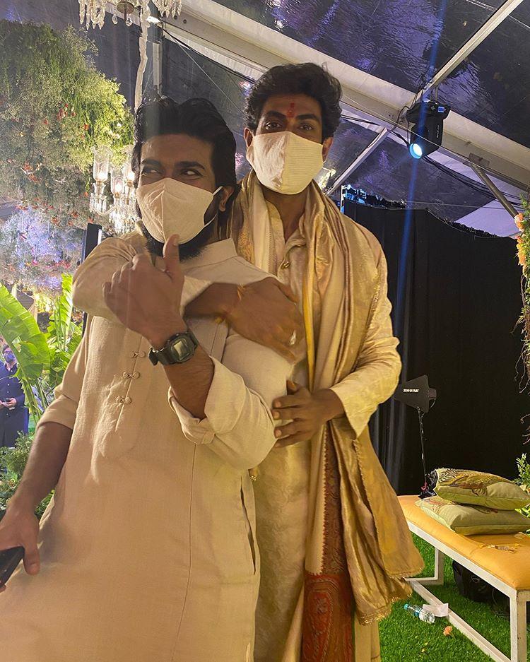 రానా దగ్గుబాటి మిహీక బజాజ్ వివాహ వేడుకలో రాంచరణ్ సందడి(rana daggubati miheeka bajaj marriage)