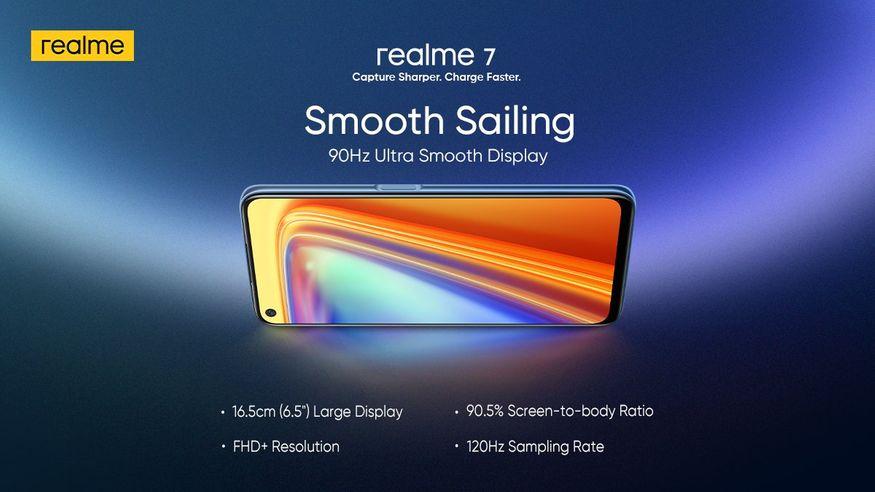 3. రియల్మీ 7 స్పెసిఫికేషన్స్ చూస్తే 6.5 అంగుళాల ఫుల్ హెచ్డీ+ డిస్ప్లే ఉంది. మీడియాటెక్ హీలియో జీ95 ప్రాసెసర్తో పనిచేస్తుంది. (image: Realme India)