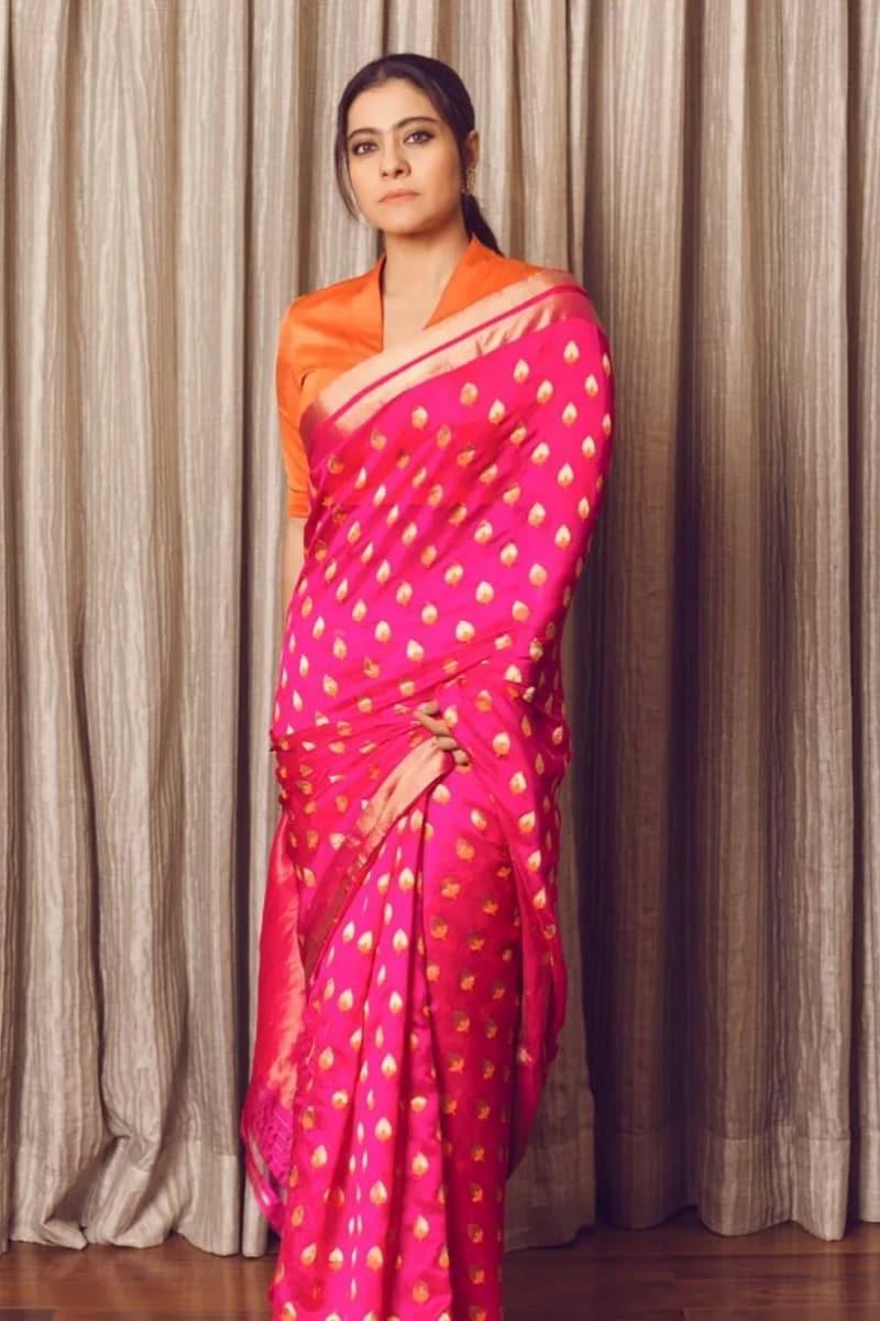 వెరైటీ బ్లౌజ్ కట్తో కాజోల్ (Instagram/Photo)