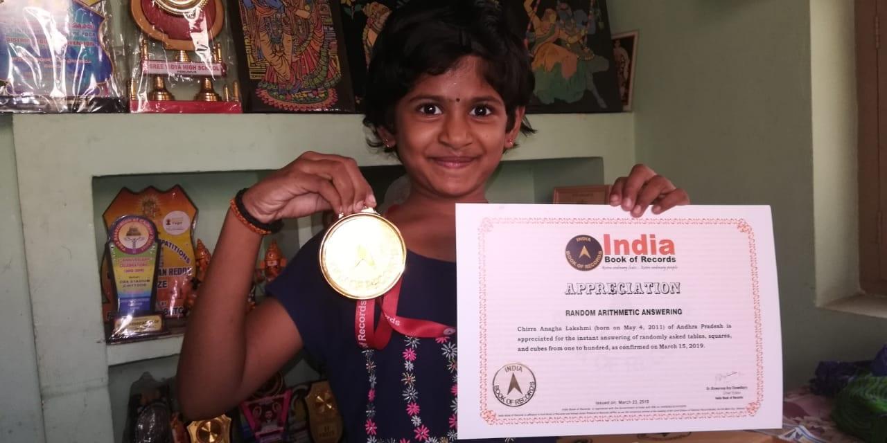 Anaghalakshmi (9 años), hija de Vishnuvardan Reddy y la pareja Sathyashree del distrito de Guntur.  La niña fue galardonada con el Nobel World Record y el World Book of Records por su notable talento en matemáticas.