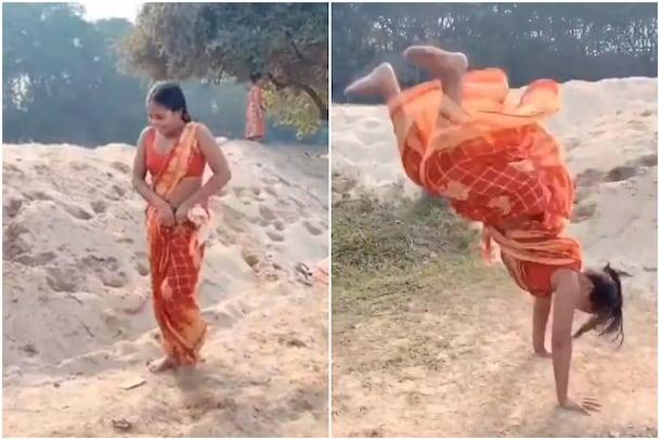 Mili Sarkar: చీరలో పిల్లిమొగ్గలు.. అది కూడా ఉల్టా.. ఈమె Super Woman