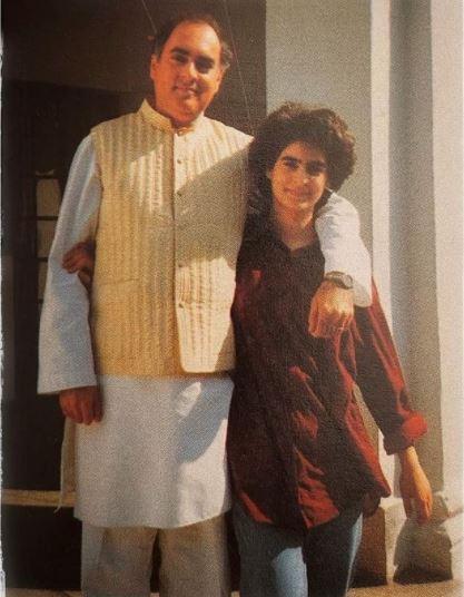 తండ్రి రాజీవ్ గాంధీతో ప్రియాంక.. (Image : Instagram)