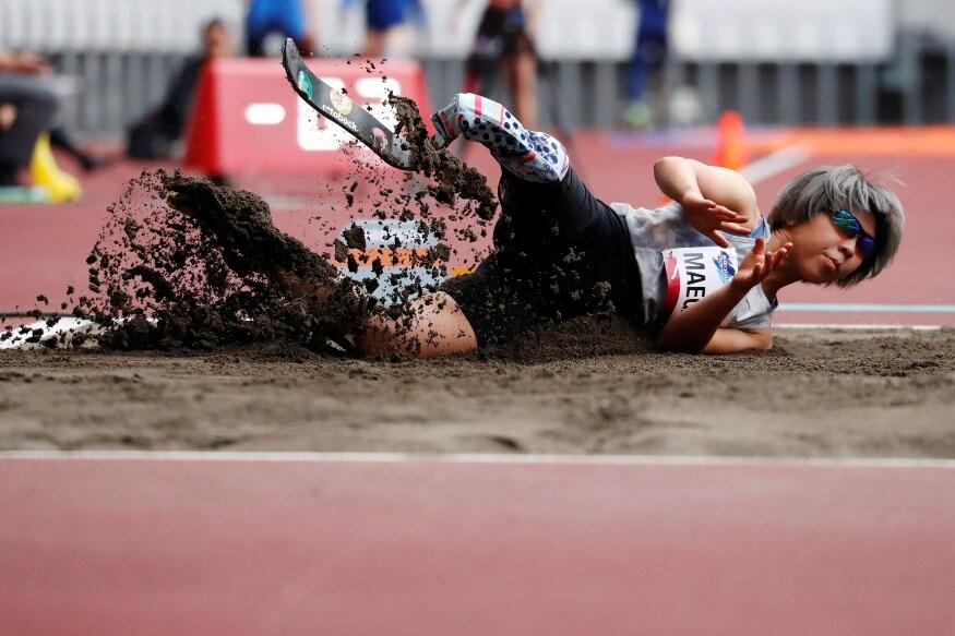 టోక్యో 2020 పారాలింపిక్స్ అథ్లెటిక్స్ టెస్ట్ ఈవెంట్లో మహిళల లాంగ్ జంప్ ఈవెంట్ సందర్భంగా జపనీస్ కైడే మేగావా. (Photo Credit: Reuters)